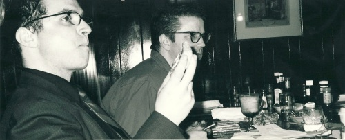 Paul (left) and me at my birthday party in 2002, at Portland restaurant Poor Richard's.