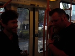 Mike Young and Jamie Iredell riding the Max into downtown Portland.