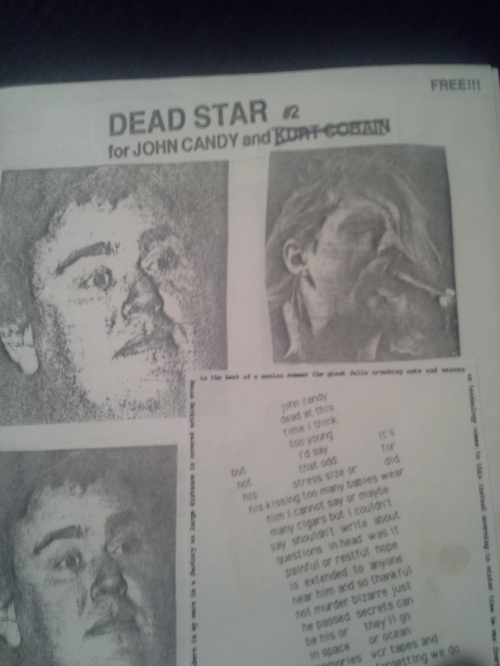 John Candy died on the day that Kurt Cobain had first attempted suicide (and nearly succeeded). As a bad joke, we put his name on this issue as well, but crossed it out... when he came back alive!