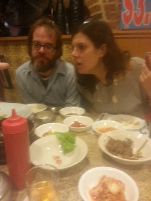 Sharing cell phone cat photos with Adam Robinson, Amy McDaniel, and Michael Kimball (out of frame).