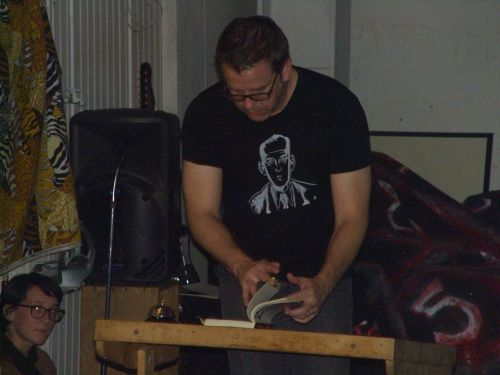This is from my reading at Vacation in San Francisco. Maybe my best reading of the tour I think. I must have gained super powers from my Dan Clowes shirt.
