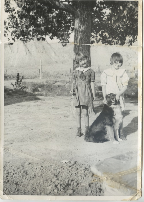 Patsy (w: dog) & Her Sister Betty